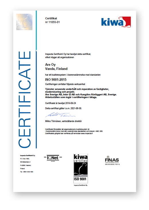 ISO 9001 certifierade